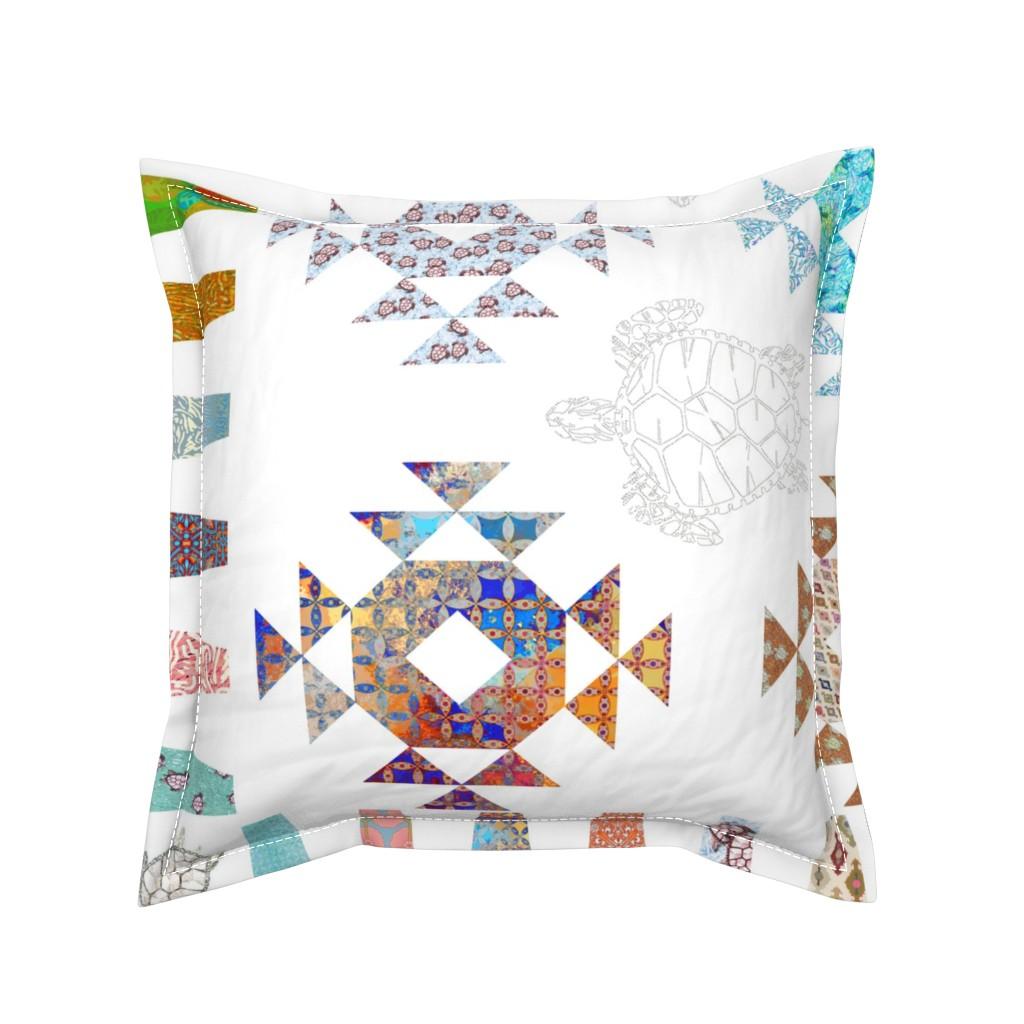 Serama Throw Pillow featuring Charo's turtle quilt by keweenawchris