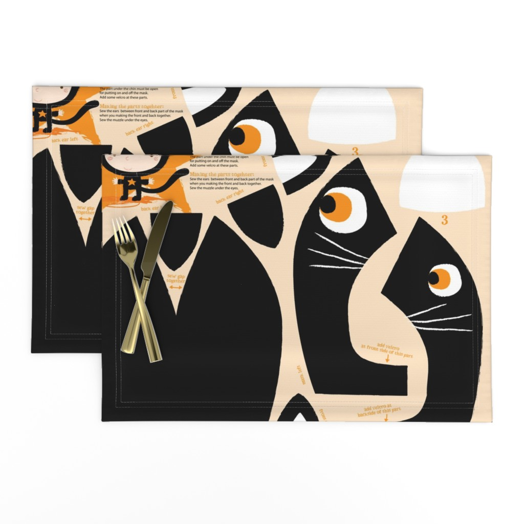 Lamona Cloth Placemats featuring Funny black cat mask by bora