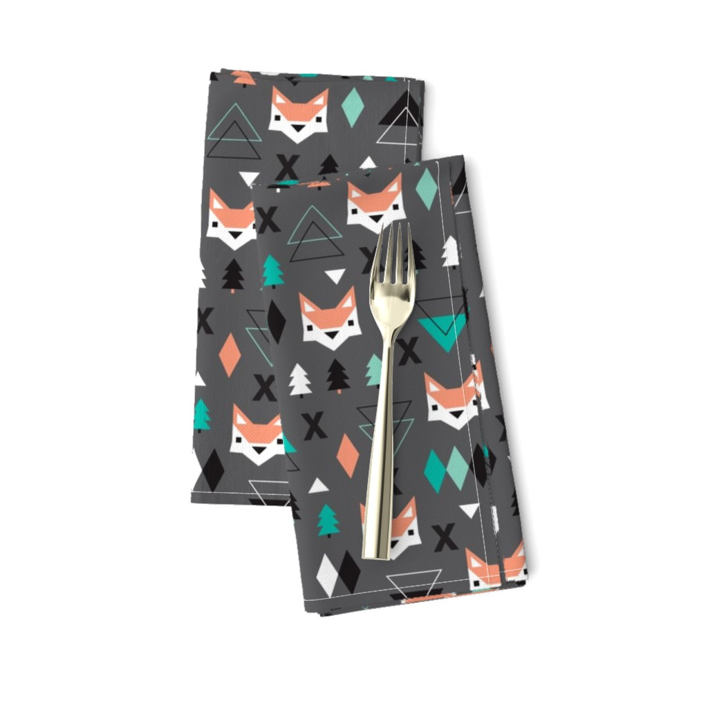 Amarela Dinner Napkins featuring Geometric fox and pine tree illustration pattern by littlesmilemakers