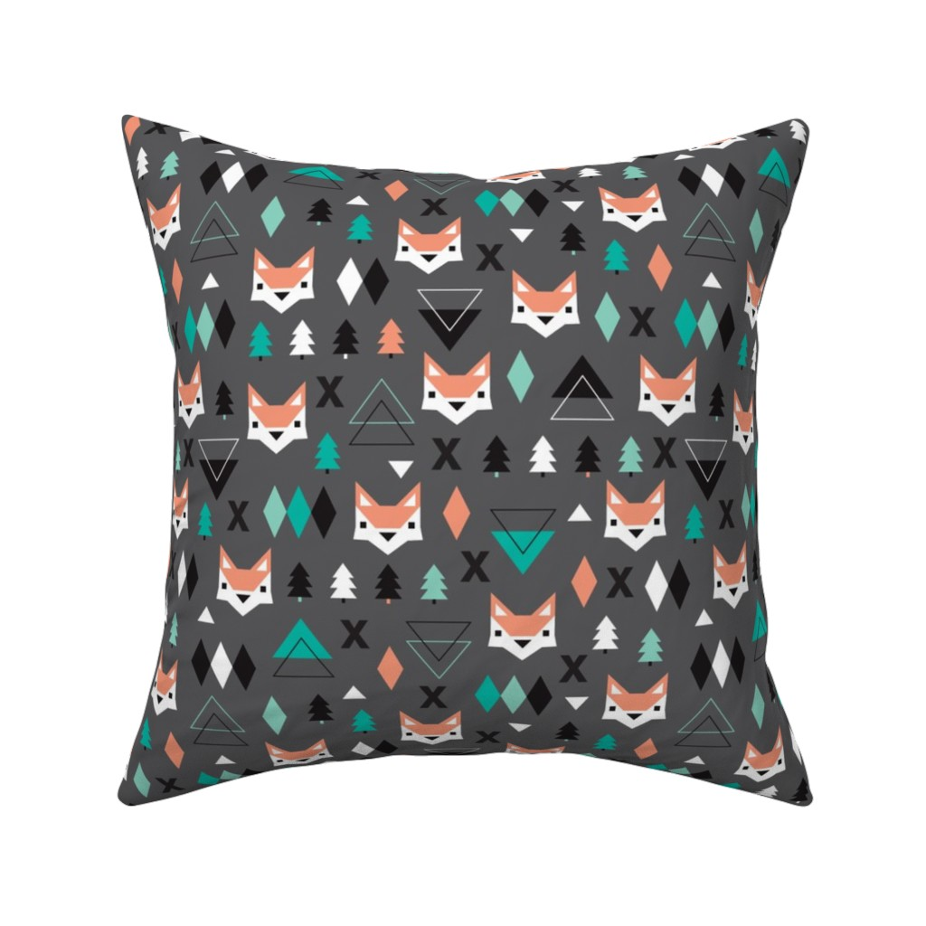 Catalan Throw Pillow featuring Geometric fox and pine tree illustration pattern by littlesmilemakers