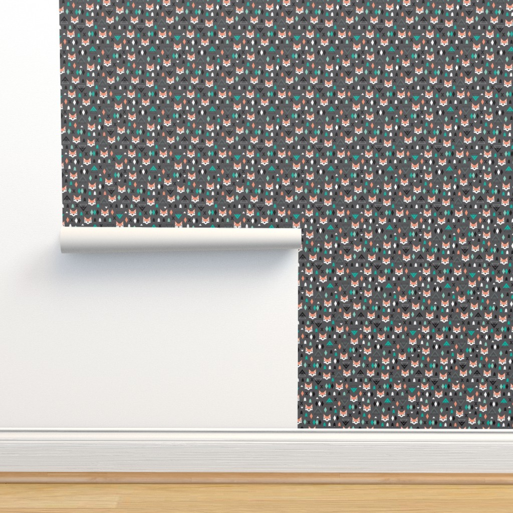 Isobar Durable Wallpaper featuring Geometric fox and pine tree illustration pattern by littlesmilemakers
