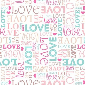 Love typography wedding lettering in soft pastel valentines day pattern