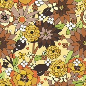 70s flowers brown