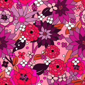 70s flowers pink