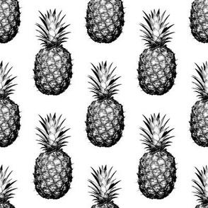 Black and White Pineapples - Medium tiling pattern