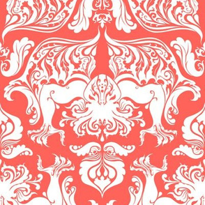 I Love Craft (Cthulhu Damask in Coral)