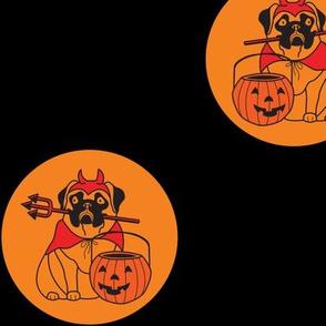 halloween pug polka dot