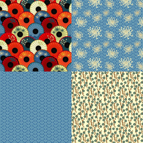Umbrellievable fat quarters - blue