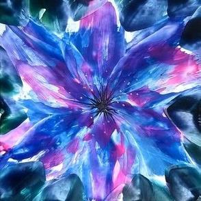 blue encaustic flower