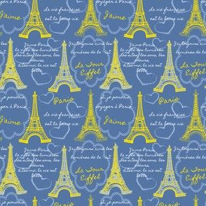 Eiffel Tower Sketches Yellow Blue