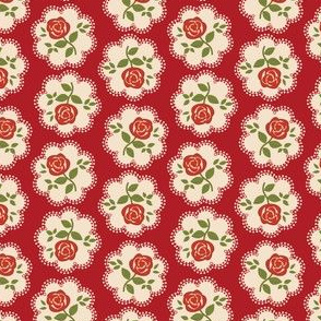 Rose Doily Stamp Red