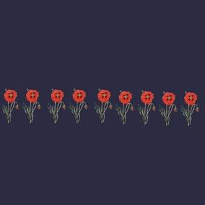 Happy Poppy Border- Navy