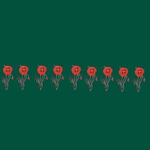 Happy Poppy Border- Green
