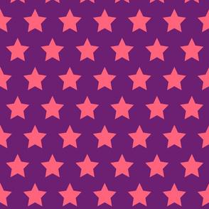 Pink Stars on Purple - Large