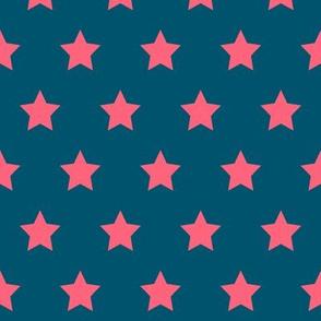 Pink Stars on Navy - Med
