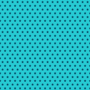 Navy Stars on Turquoise - Small