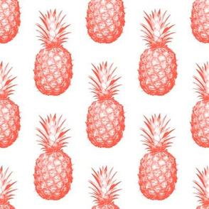Coral Pineapples - Medium tiling fruit pattern