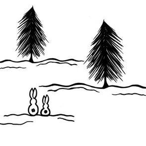 Winter Pine Bunnies