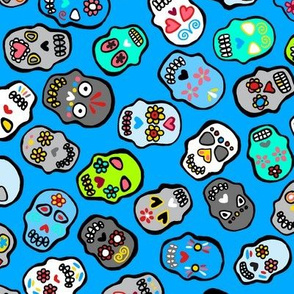 Mexican skulls blue background