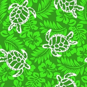 Sea Turtle Hibiscus Print