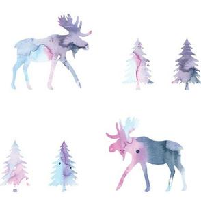 moose trot // blue lagoon watercolor // oversized