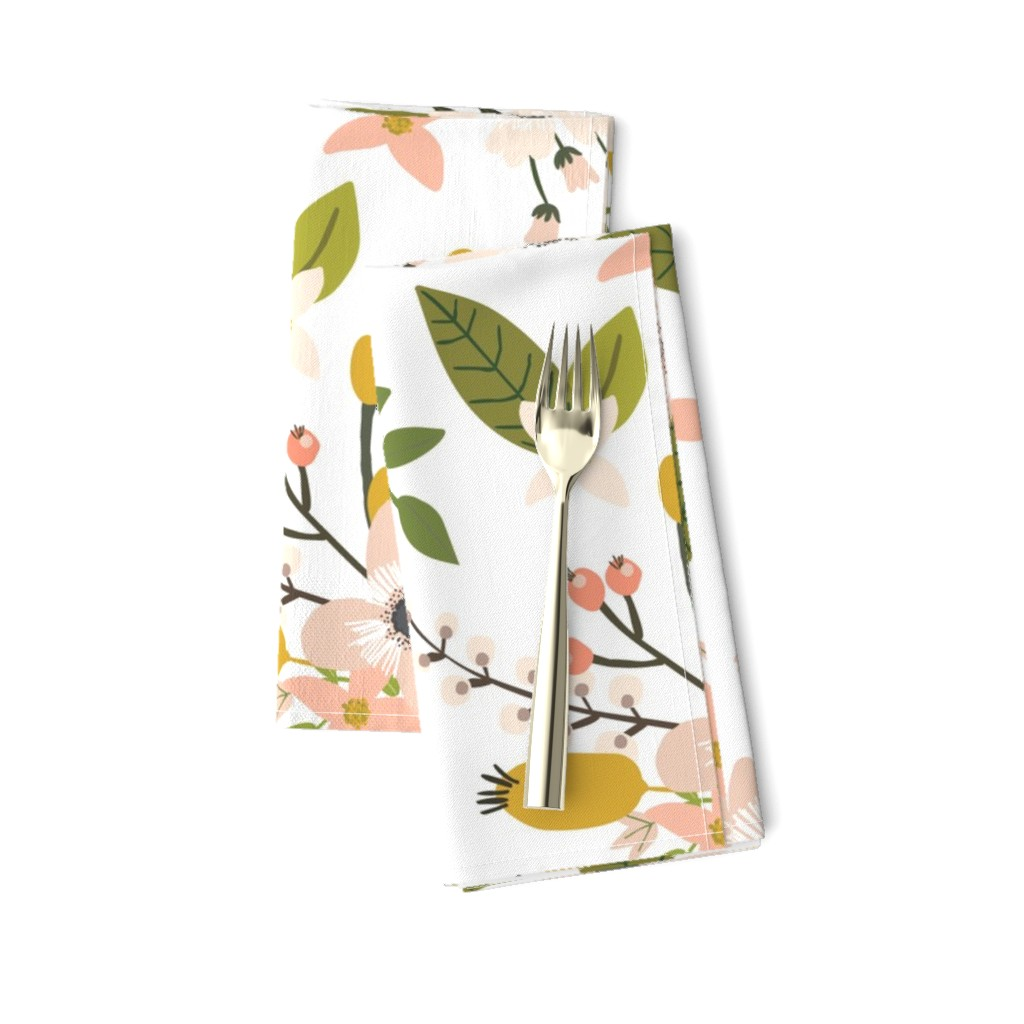 Amarela Dinner Napkins featuring sprigs and blooms // blush // oversized  by ivieclothco