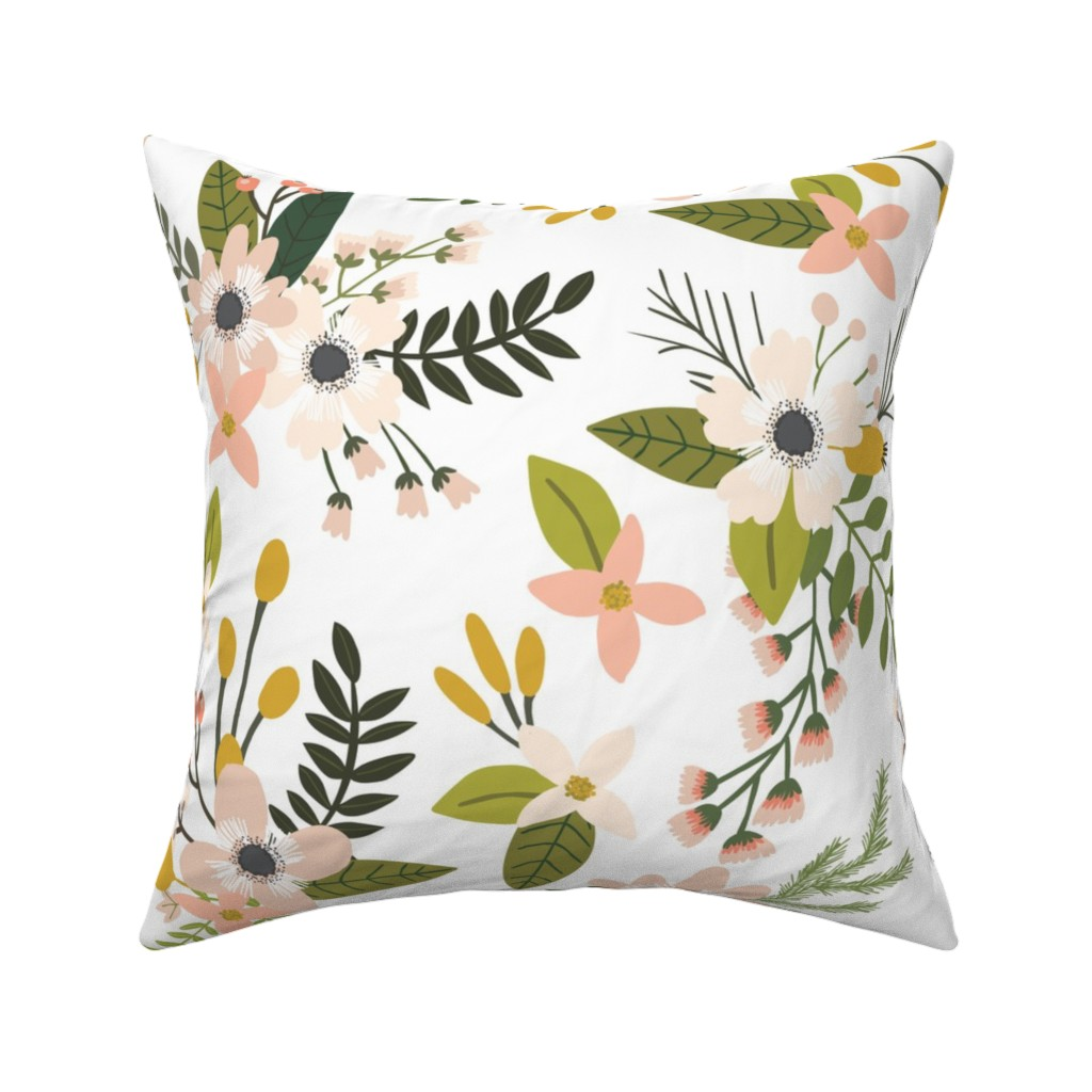 Catalan Throw Pillow featuring sprigs and blooms // blush // oversized  by ivieclothco
