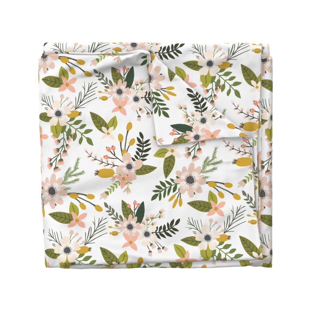 Wyandotte Duvet Cover featuring sprigs and blooms // blush // oversized  by ivieclothco
