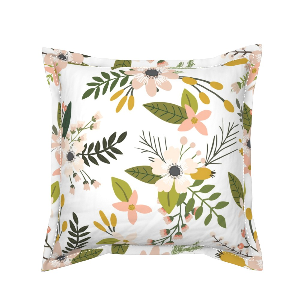 Serama Throw Pillow featuring sprigs and blooms // blush // oversized  by ivieclothco