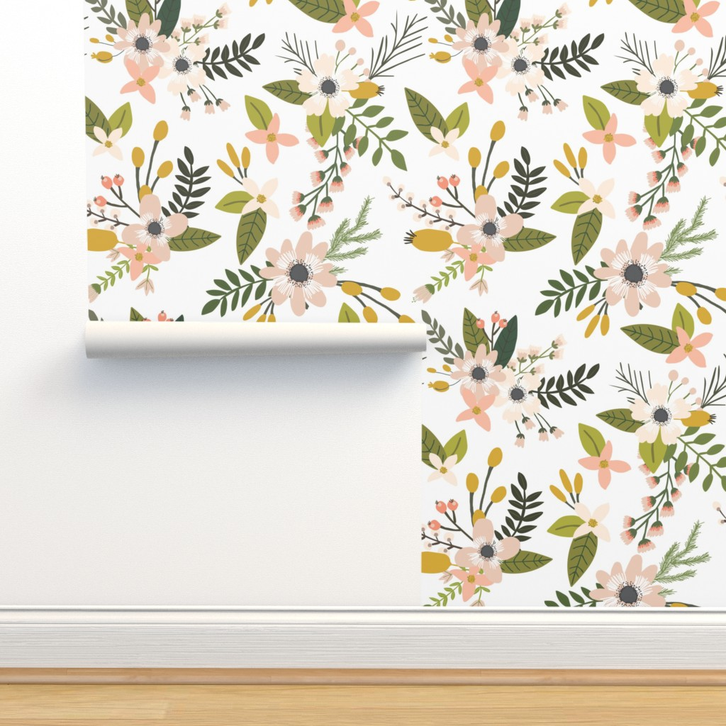 Isobar Durable Wallpaper featuring sprigs and blooms // blush // oversized  by ivieclothco