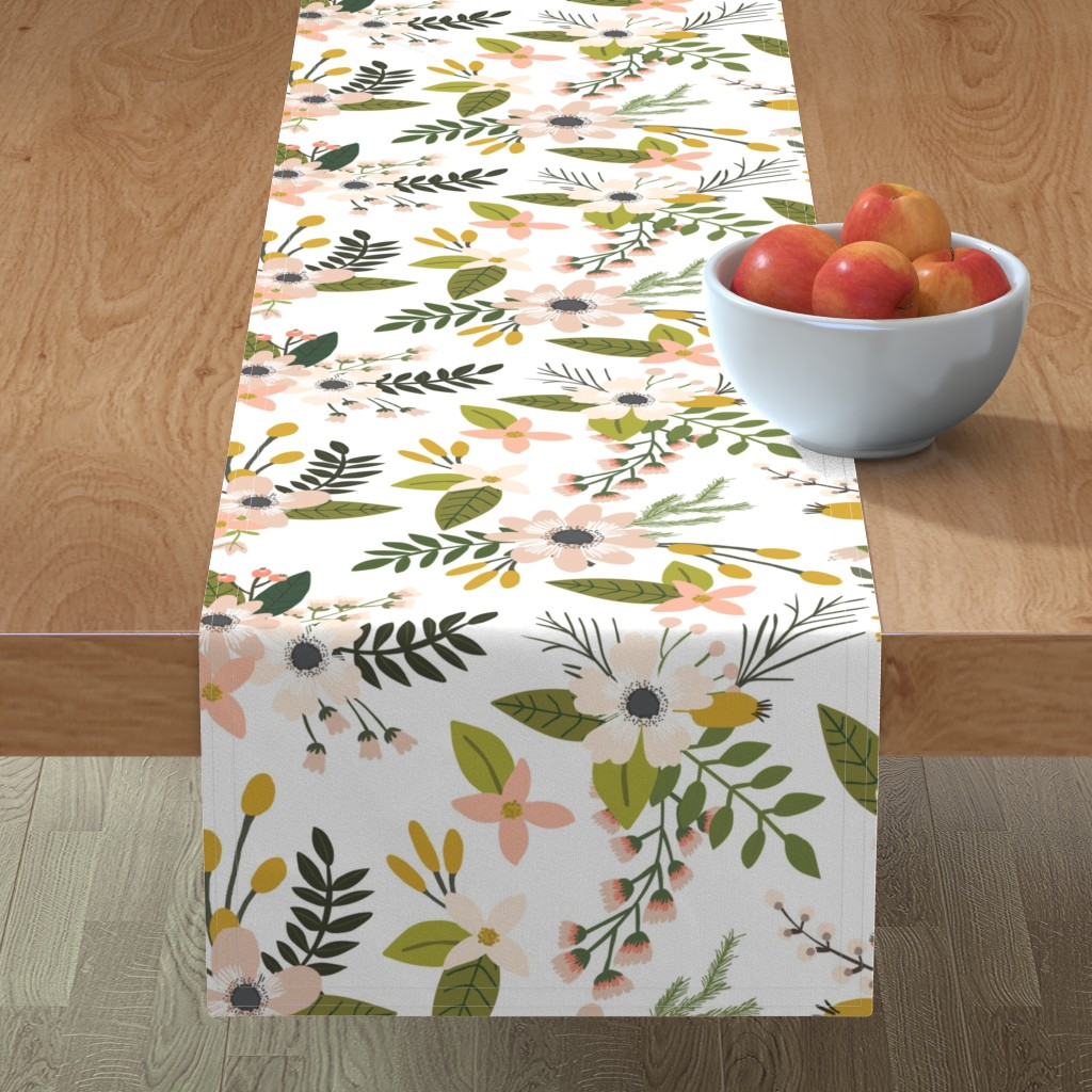 Minorca Table Runner featuring sprigs and blooms // blush // oversized  by ivieclothco