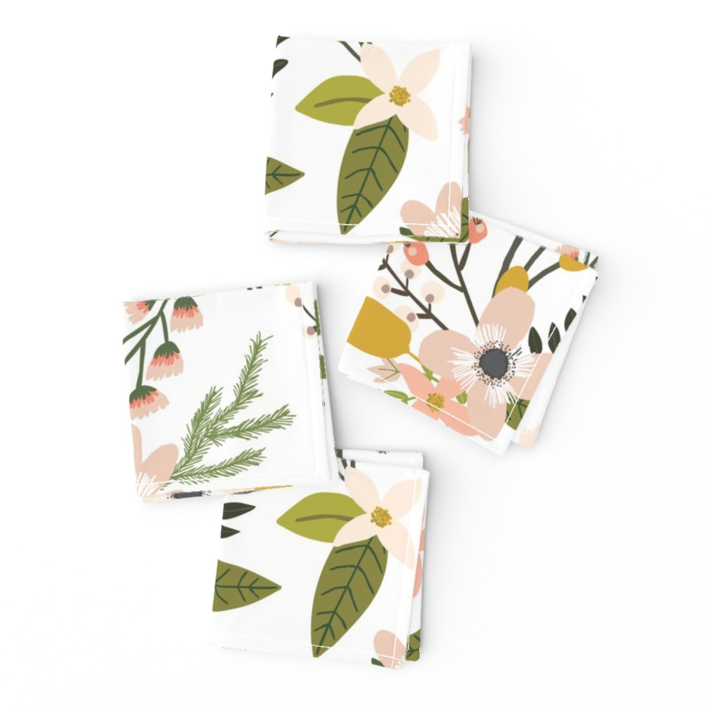 Frizzle Cocktail Napkins featuring sprigs and blooms // blush // oversized  by ivieclothco