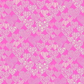 Hearts eclectic - cream on pink