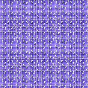 Tiny Westies on Purple Plaid
