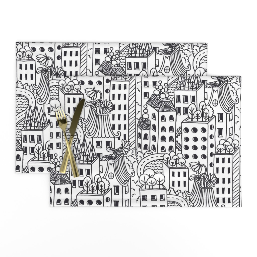 Lamona Cloth Placemats featuring Hello! Neighbour by meliszawang