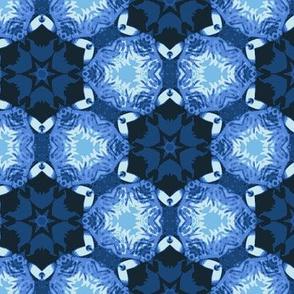 Geometric Blue Flowers