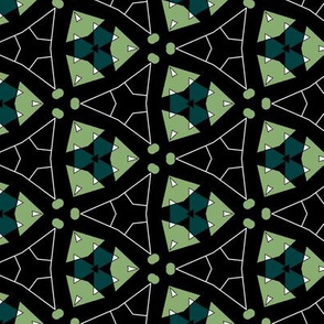 Varied Triangles Geometric in Green and Black