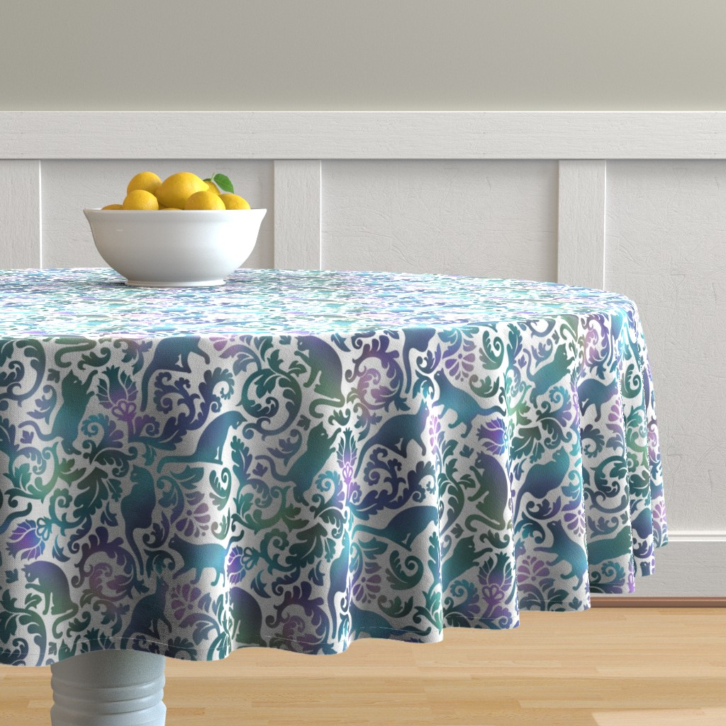 Malay Round Tablecloth featuring Cats In The Garden / Blue Purple Gradient White Background / Large Scale by mirabelle_print