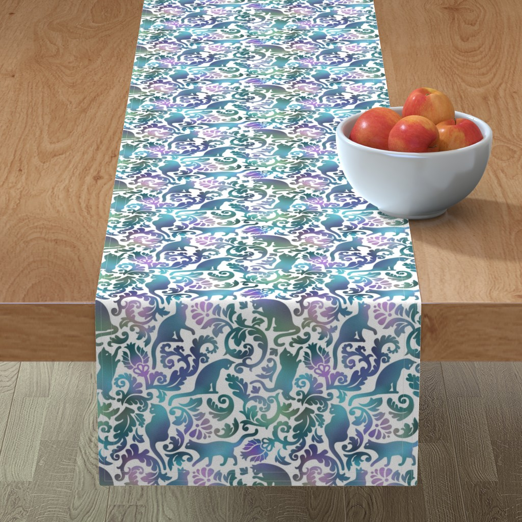 Minorca Table Runner featuring cats in the garden - gradient, large by mirabelleprint
