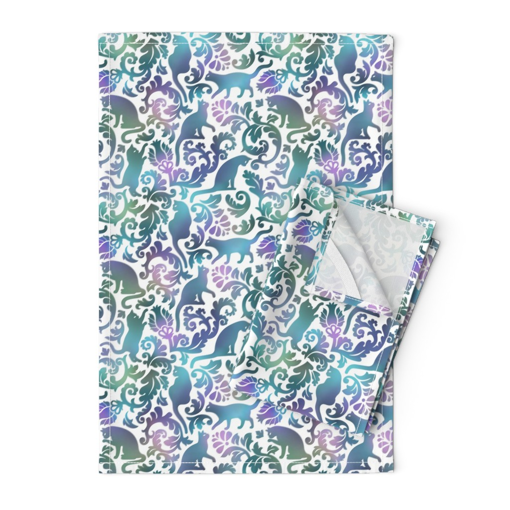 Orpington Tea Towels featuring cats in the garden - gradient, large by mirabelleprint