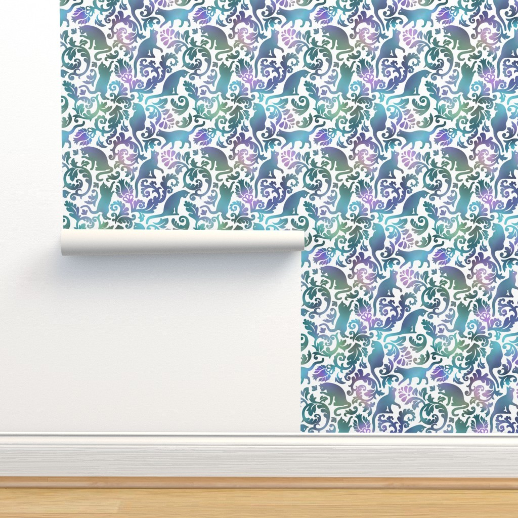Isobar Durable Wallpaper featuring cats in the garden - gradient, large by mirabelleprint