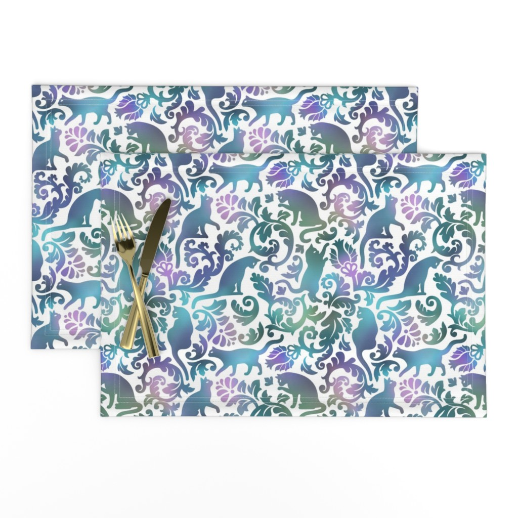 Lamona Cloth Placemats featuring Cats In The Garden / Blue Purple Gradient White Background / Large Scale by mirabelle_print