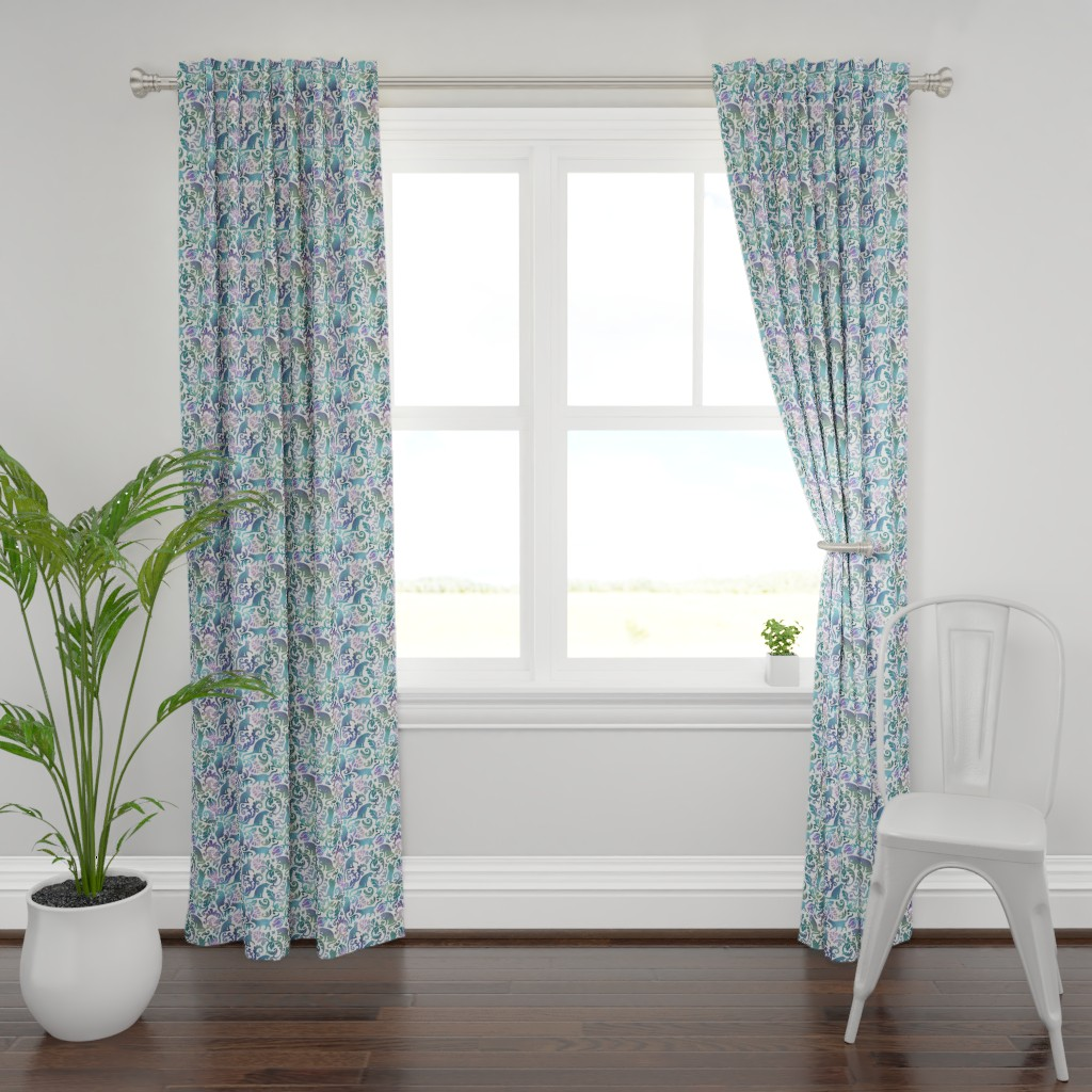 Plymouth Curtain Panel featuring cats in the garden - gradient, large by mirabelleprint