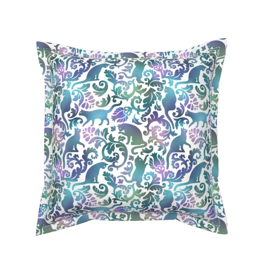 Serama Throw Pillow featuring cats in the garden - gradient, large by mirabelleprint