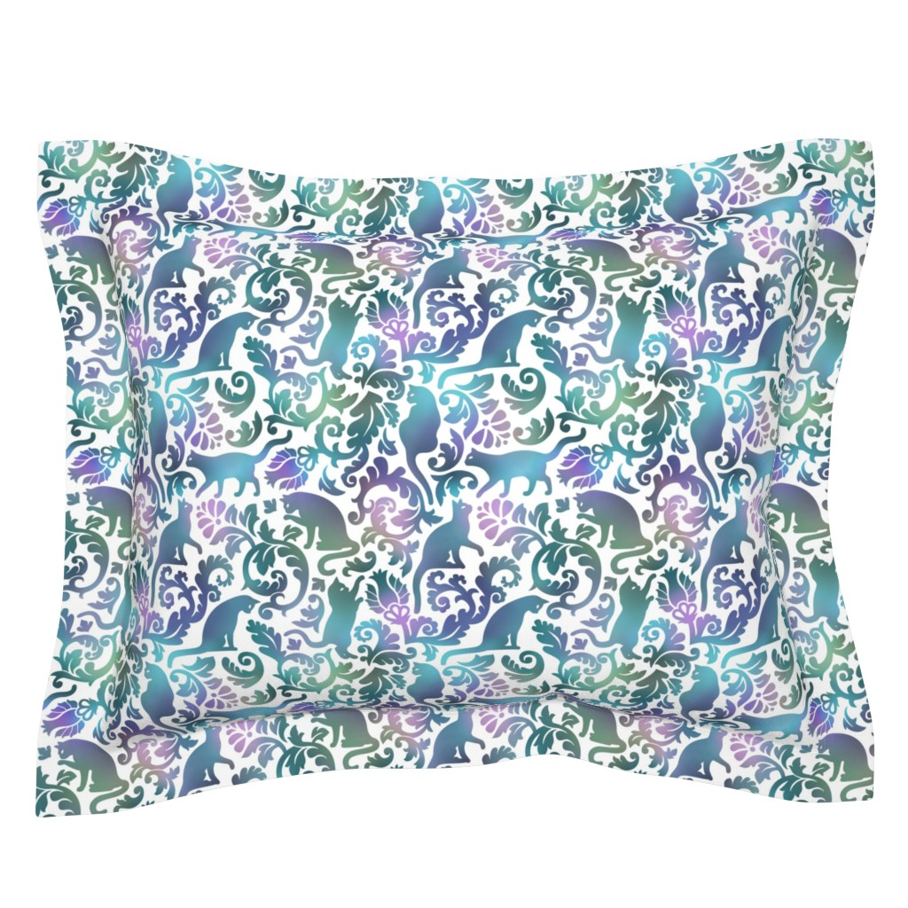 Sebright Pillow Sham featuring cats in the garden - gradient, large by mirabelleprint