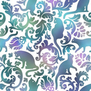 Cats In The Garden / Blue Purple Gradient White Background / Large Scale