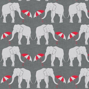elephant and umbrella red small