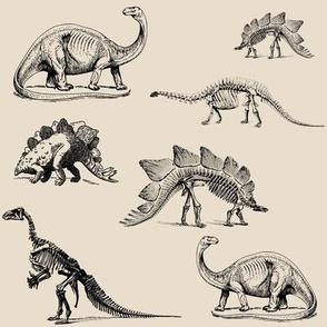 Museum Animals, Dinosaur Skeletons, Dinos in Black and Cream