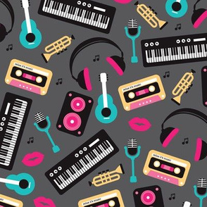 Retro music and lyrics jazz illustration pattern