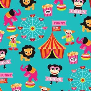 Colorful kids circus animals fun fair illustration pattern